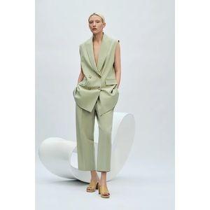 Zara Double Breasted Vest Blazer Green Size L NWT